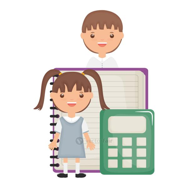 cute little student girl with teacher and calculator