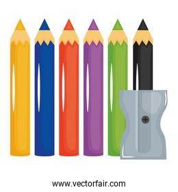 set of pencils colors and sharpener