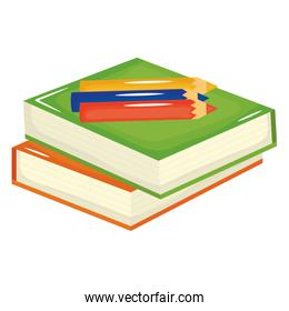 pile text books school and colors pencils