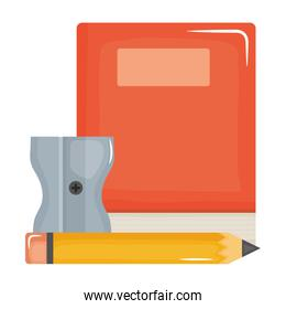 isolated text book school supply with pencil and sharpener