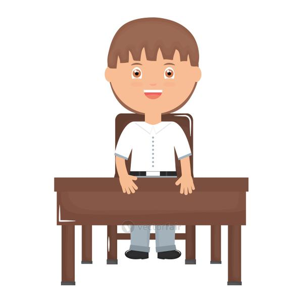 cute little student boy seated in schooldesk