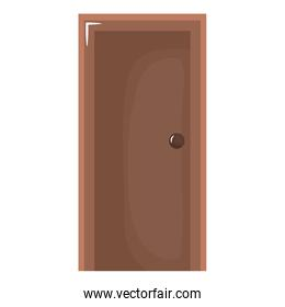 wooden door closed isolated icon