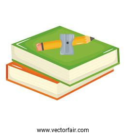 pile text books with pencil and shapener