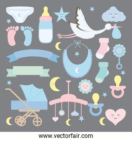 baby shower set accessories icons