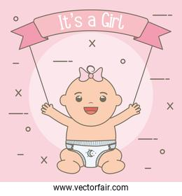 cute little baby girl with ribbon frame