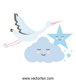 stork bird flying with cloud and star kawaii characters