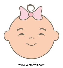 cute little baby girl head character