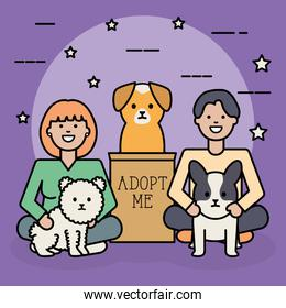 young couple with dogs adorables mascots