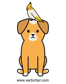 little dog with bird adorables mascots characters