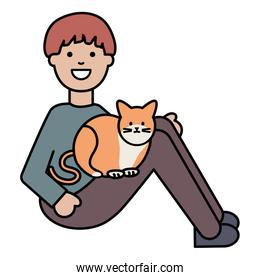 young man with cute cat mascot