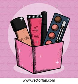 set of make up accessories in container