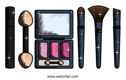 eye shadows with set brush and mirror make up