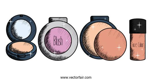set of blush make up drawing