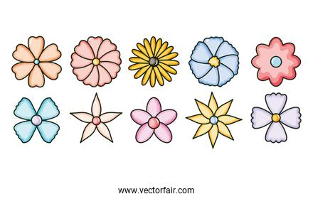 set of cute flowers garden icons
