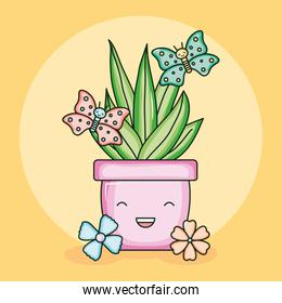 house plant in ceramic pot with butterflies kawaii style