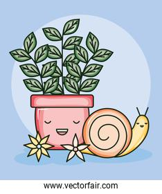 house plant in ceramic pot with snail kawaii style