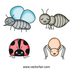 group of insects kawaii characters