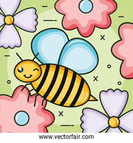 flowers garden with little bee flying kawaii character
