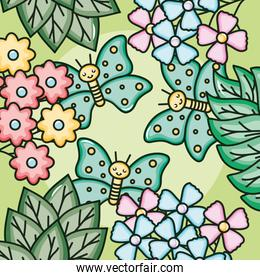 cute butterfly insect kawaii character