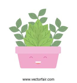house plant in square ceramic pot kawaii character