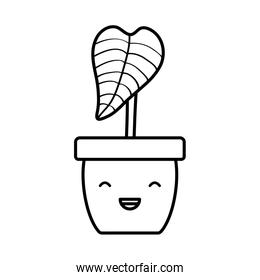 house plant in ceramic pot kawaii character
