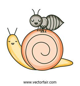cute ant insect and snail kawaii characters