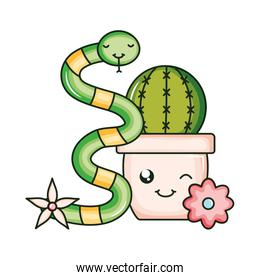 cactu in ceramic pot and snake kawaii style