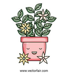 house plant in ceramic pot with flowers kawaii character
