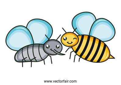 cute fly and bee insects kawaii isolated icon