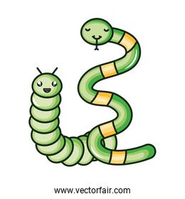 cute little snake with worm kawaii comic characters