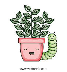 house plant in ceramic pot with worm kawaii style