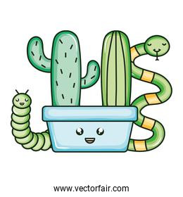 cactu in ceramic pot and snake and worm kawaii style