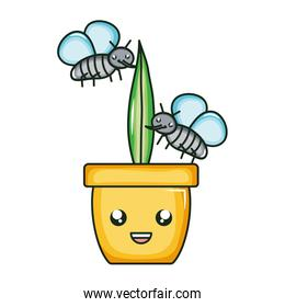 house plant in ceramic pot with insects flying kawaii style