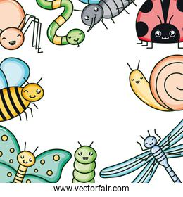 insects and garden animals kawaii characters
