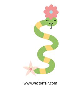 cute little snake with flowers kawaii character