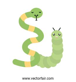cute little snake with worm kawaii characters