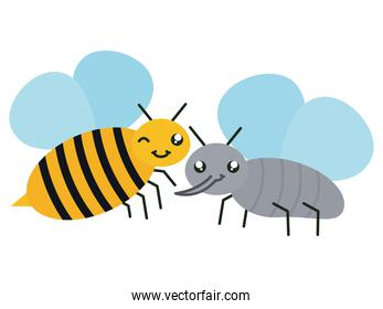 cute fly and bee insects kawaii characters