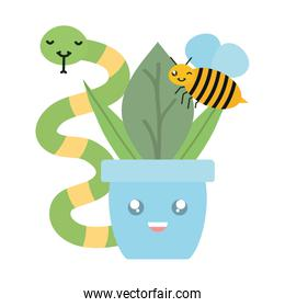 house plant in ceramic pot with snake and bee kawaii style