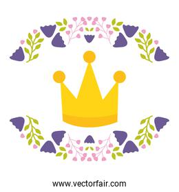 crown queen with floral wreath pop art style