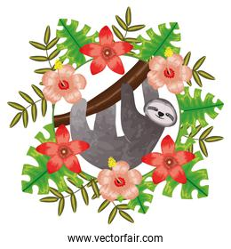 beautiful sloth bear with tropical floral decoration