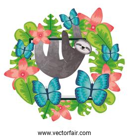 beautiful sloth bear and butterflies with floral decoration