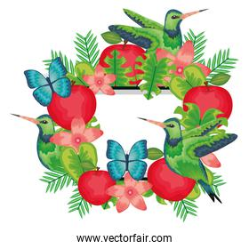beautiful butterflies and fruits with floral decoration