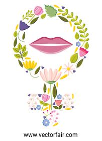 female gender symbol with flowers and lips pop art style