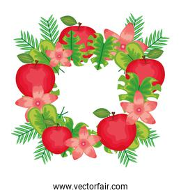 fresh apples fruits with flowers and leafs frame