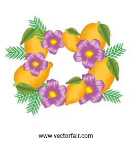 fresh lemons fruits with flowers and leafs frame