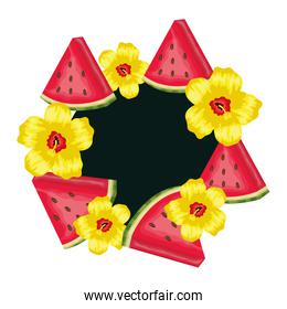 fresh watermelon fruits with flowers frame