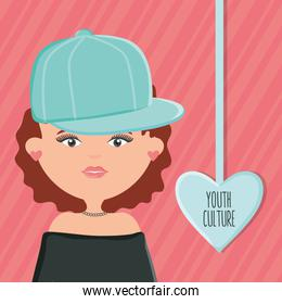 cute woman with sport cap and heart love