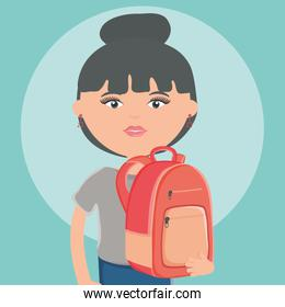 cute woman with schoolbag street style character
