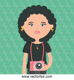 cute woman with camera photographic street style character