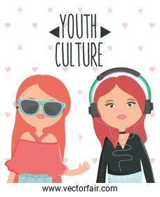 cute girls with sunglasses and earphones urban style characters